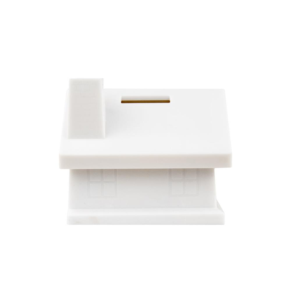 House Shaped Money Box - White/White